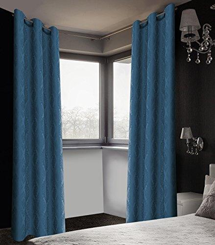- Safdie & Co. 2 PCS Set Curtain Panel Brocade Blackout 84L Denim, 2 Piece