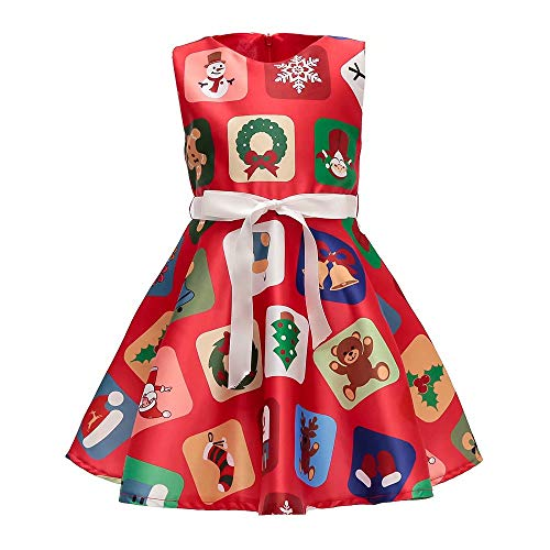 AYOMIS Girls Cotton Casual Sleeve Cartoon Stripe Dresses 2-9 Years(Xmas Red-2,4-5Y) -