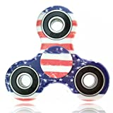 Fidget Spinner flag, Alled Hand Spinner Toy Stress Reducer, 1-3 Mins Spins Tri-Spinner Finger Toy Focus Toy Relieves ADHD EDC Anxiety for Adults and Kids with 2 Gift Nail File (Flag)