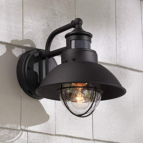 Oberlin Rustic Outdoor Wall Light Black Exterior Fixture Motion Security Dusk to Dawn for House Deck Porch - John Timberland ()