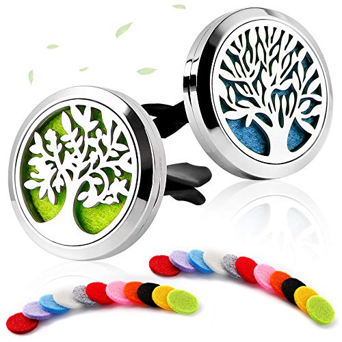 (2 Pack Premium Aromatherapy Essential Oil Car Diffuser with 22 Replacement Felt Pads — Stainless Steel Air Freshener Locket Upgrade Car Diffuser Vent Clip, Tree and Cloud Tree)
