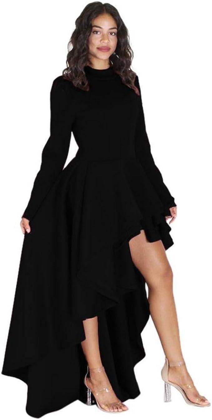 Longra Damen Vintage Cocktailkleid Abendkleider Damen Langarm High Low  Schößchen Kleid Elegant Hochzeit Brautjungfer Kleid Festliche  Asymmetrisches