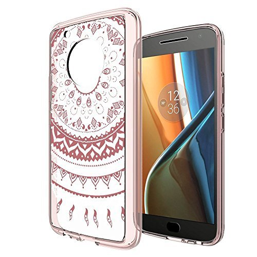 AnoKe for Moto G5 Plus with Screen Protector,Slim Clear Datura Flowers Transparent TPU Rubber Bumper Though Armor Anti-Scratch Full-Body Protection Cover for Moto G5 Plus TM CH Rose Gold