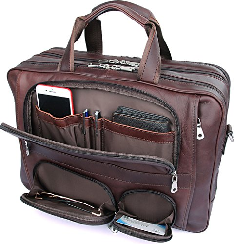 Iswee Genuine Leather Laptop Messenger Bag Business Briefcase Travel Duffel Luggage Bag (Large Size-Fit 17
