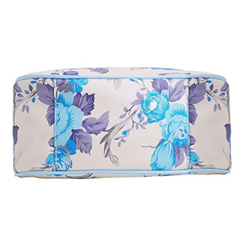 ZXKEE Bolsos de mujer PU Cuero Camelia Flores Azul embrague Carteras de mano