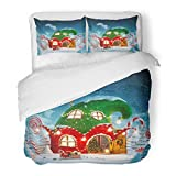 SanChic Duvet Cover Set Amazing Fairy House Decorated at Christmas in Shape of Elfs Hat with Opened Door and Fireplace Inside Decorative Bedding Set with 2 Pillow Shams Full/Queen Size