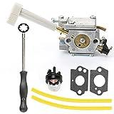 Hilom Carburetor with Choke Lever Adjusting Tool Mounting Gasket Primer Bulb Fuel Line for Ryobi RY08420 RY08420A Backpack Blower OEM Part Number 308054079