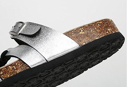 Casual Donna Fibbie Cinturini Sandali Flip Flop Platform Plantare Colore Nastro Taglia 35 M Eu