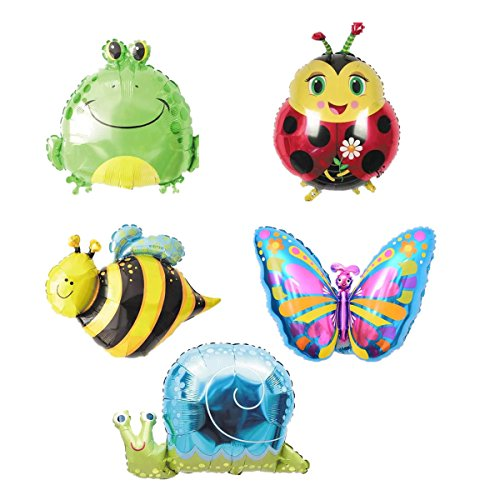 Ximkee Butterfly Snail Frog Ladybird Bee Foil Balloons Zoo Festival Party Supplies-18''X5pc (Foil Balloon 18' Time)