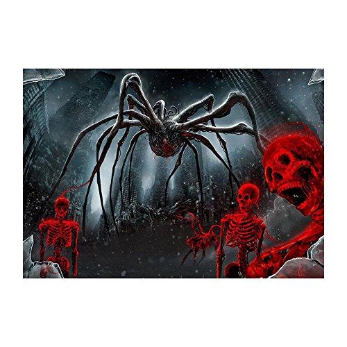 VKTECH Full Drill 5D DIY Diamond Painting Kit Halloween Spider Skeleton Round Rhinestone Embroidery Cross Stitch Craft Best Gift Room Decor 16x12 inch
