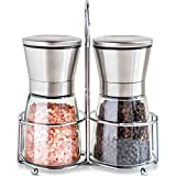 Salt and Pepper Mills Set with Stainless Steel Stand ,Adjustable Coarseness Premium Brushed Stainless Steel Pepper and Salt Shakers ,Salt and Pepper Grinder Set (2 Packs)