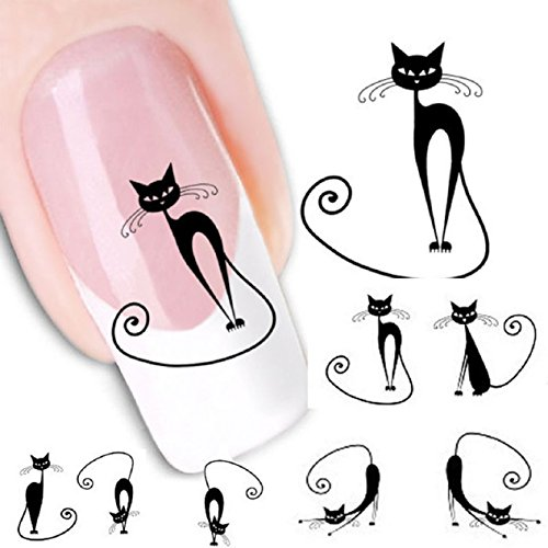 Malloom Cute Black Cat Nail Sticker Art Water Transfer Slide Decals Sticker T...