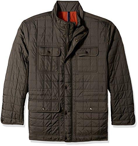 Tommy Hilfiger Men's Big Four Pocket Box Quilted Military Jacket, Olive, 2X Athleti -