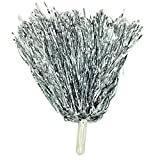 4Pcs Metallic Foil Cheerleader Cheerleading Pom Poms with Handle for Sports Squad Cheering Party Dance Costume Accessories (80g/1pc) (Silver)