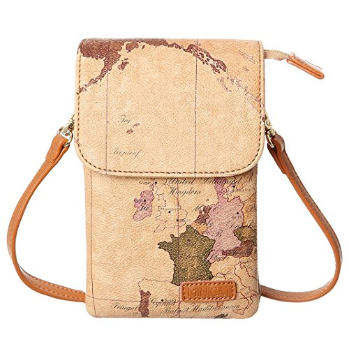 MINICAT World Map Series Synthetic Leather Small Crossbody Cell Phone Purse Wallet Smartphone Bags for Women (Map)