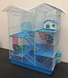 New Twin Tower Large Crossing Tube Habitat Syrian Hamster Rodent Gerbil Mouse Mice Rat Wire Animal Cage (Blue)