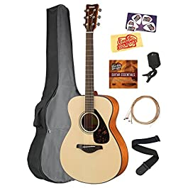 Yamaha FS800 Solid Top Small Body Acoustic Guitar – Natural Bundle with Gig Bag, Tuner, Strings, Strap, Picks, Austin…