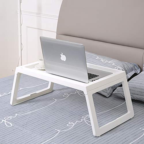Foldable Lapdesk Laptop Table for Bed, RAINBEAN Breakfast Serving tv Tray for Kids Eating, Portable Notebook Reading Lap Stand for Couch Floor, Lightweight PP 22 Inch, White