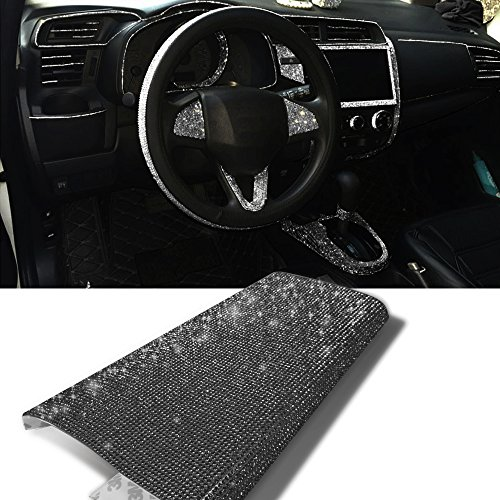YGMONER 9000pcs Bling Crystal Rhinestone 9.4 x 7.9'' DIY Car Decoration Sticker (black) (Rhinestone Emblem Sticker)
