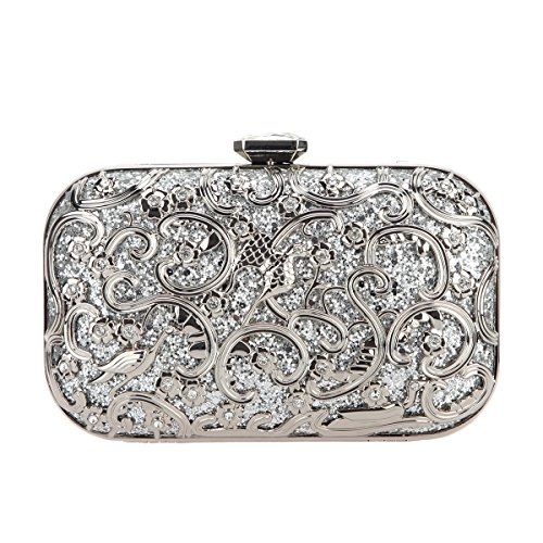 (Fawziya Bird Glitter Hard Shell Clutch Purse Fashion Clutches For Women Evening Bag-Silver)