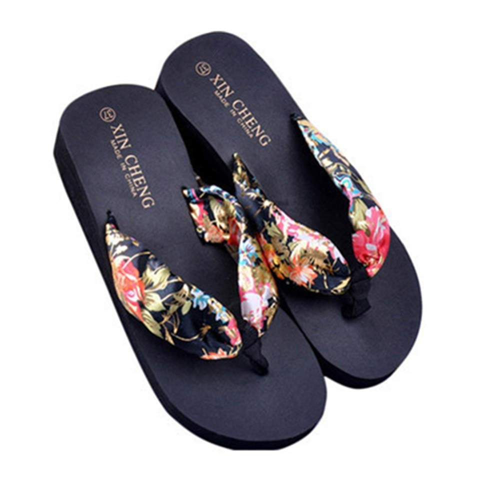 ℱLOVESOℱ Women's Fashion Sewing Peep Toe Wedges Hasp Sandals Solid Color Matte Thread Fish Mouth Platform Shoes Black
