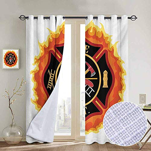 NUOMANAN Curtains for Bedroom Fireman,Fire Department Icon with Ladder Public Service Essential Tools of Firefighters,Multicolor,Darkening and Thermal Insulating Draperies 84