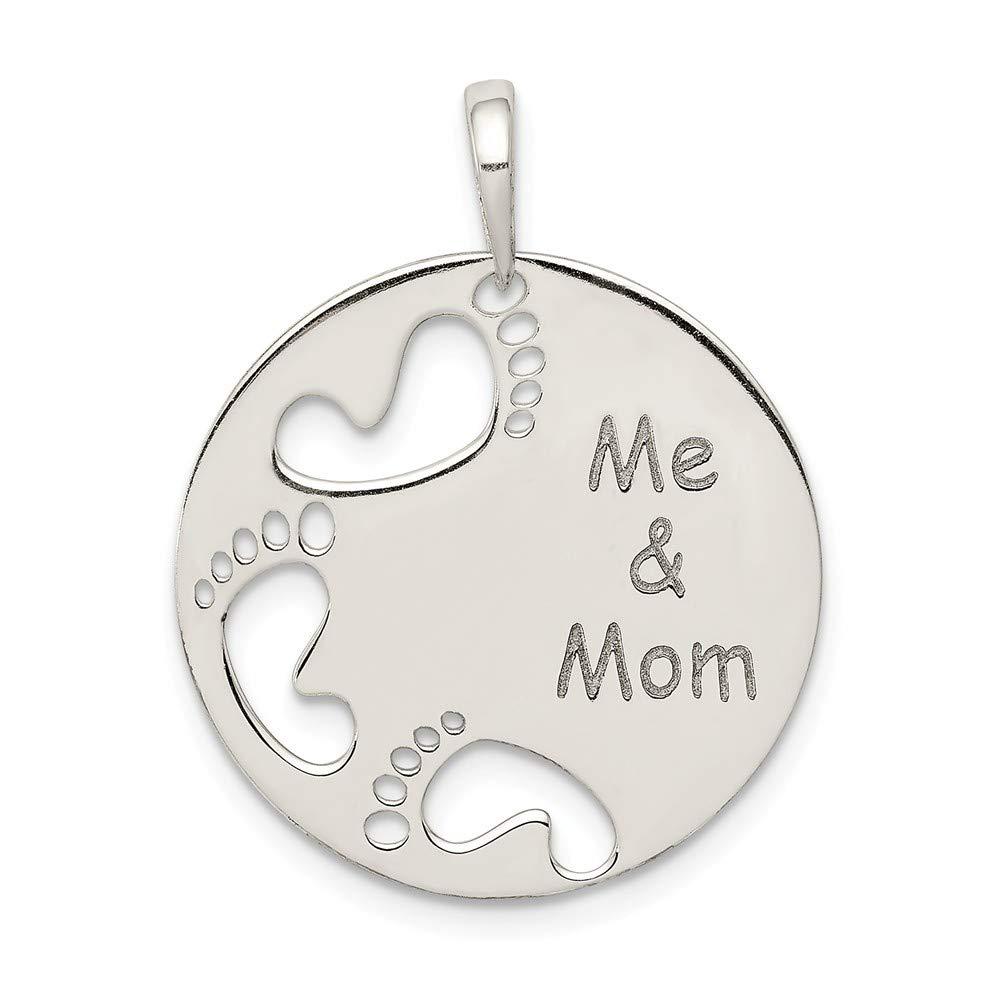 Sterling Silver Polished Me /& Mom Pendant