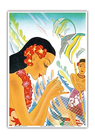 Gifts of the Sea - Hawaiian Woman repairs a Fishing Net (_Upena) - Vintage Ocean Liner Menu Cover by Frank Macintosh c.1930s - Hawaiian Master Art Print - 13 x (Macintosh Repair)