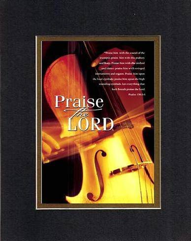 Praise the Lord, Psalm - 150:3-6 8 x 10 Inches Biblical/Religious Verses set in Double Beveled Matting (Black on Gold) - A Timeless and Priceless Poetry Keepsake Collection -