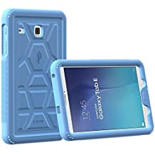 Poetic Cases TurtleSkin Heavy Duty Protection Silicone Case with Sound-Amplification Feature for Samsung Galaxy Tab E 9.6 Blue