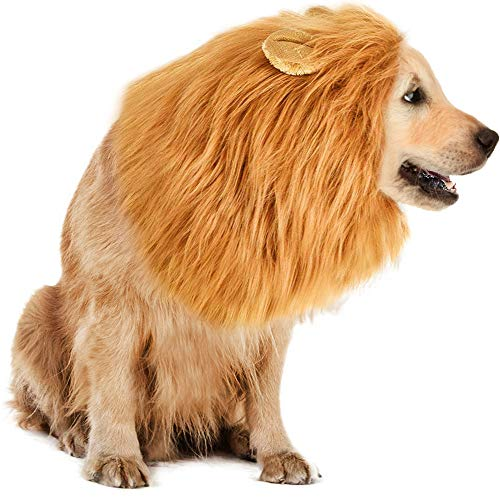 TOKKY Lion Mane Costume Dog - Lion Dog Costume Lion Wig Funny Adjustable Easy to Fit Medium to Large Sized Dog Halloween Christmas Party Ears,Large Dog Costume Pet as Lion King