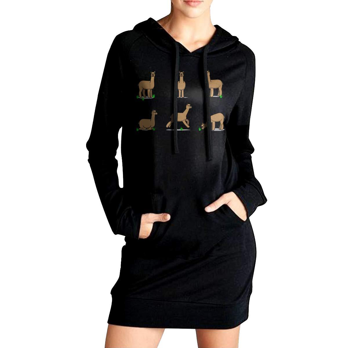 ADA/&KGH Womens EcoSmart Sweatshirt Long Hoodie Dress Alpaca Sport Outwear with Kanga Pocket