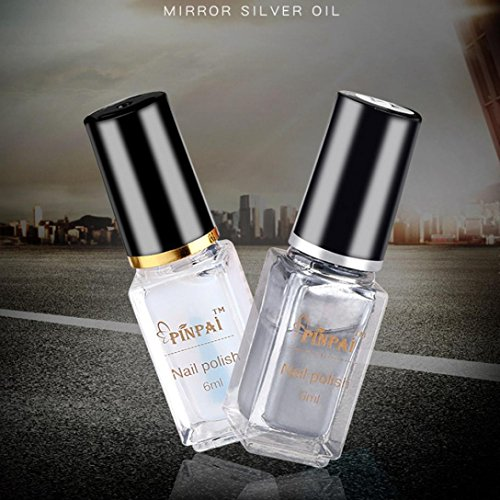 LtrottedJ Mirror Nail Polish,Plating Silver Paste Metal Colo