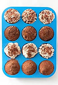 Silicone Muffin Pan Nonstick Bakeware - 12 Cups Blue Silicon Muffin Tray - BPA-Free Muffin Top Pan -  Cupcake Baking Pan - Silicone Cake Cupcake Muffin Baking Tray Mold - Bonus Muffin Recipes E-Book