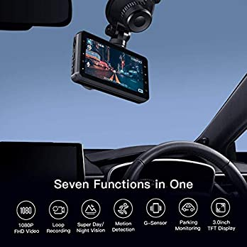 APEMAN Dash Cam Dashboard FHD 1080P Car Camera DVR Recorder with 3.0″ LED Screen, Super Night Vision, G-Sensor, WDR, Loop Recording, Motion Detection