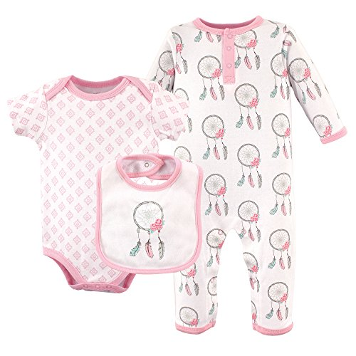 Cotton Three Piece Bodysuit (Hudson Baby Baby 3 Piece Cotton Union Suit, Bodysuit and Bib Set, Dream Catcher, 0-3 Months)