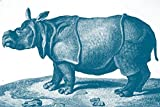 ArtParisienne Rhinoceros La Menagerie 1808 By Nicolas Maréchal Wall Decal, 48'' W x 32'' H, Blue