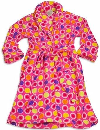 Sweet n Sassy - Girls Microfiber Dots Print Robe, Pink 30219-10/12