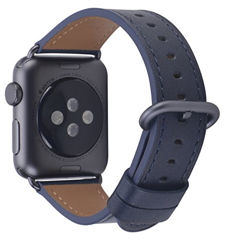 PEAK ZHANG Compatible Iwatch Band 38mm 40mm Women Genuine Leather Replacement Strap with Space Grey Adapter and Buckle Compatible Series 4 (40mm) Series 3/2 /1 (38mm) Sport Edition, Navy Blue