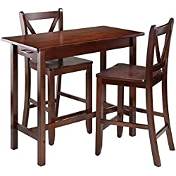 Pub Table Set,Counter-Height,3 Piece,Wood, With Storage, Walnut