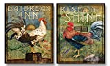 Country Rooster Kitchen Decor WallsThatSpeak 2 Retro Rooster Rustic Art Prints Country Kitchen Decor, 8 by 10-Inch, Green