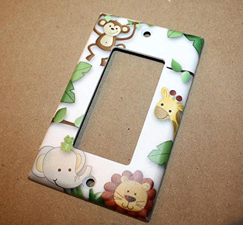 Jungle Animals Gender Neutral Nursery Bedroom Light Switch Cover LS0027 (Single Outlet) Toad and Lily LS0027c