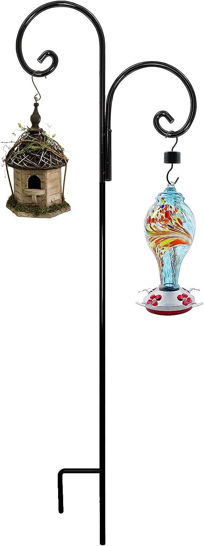 Gtongoko Outdoor Heavy Duty Double Shepherd Hook,Double Arm Shepherd Hook,Garden Poles for Hanging Bird Feeders, Plants,Plant Baskets, Solar Light Lanterns,Black (65 inch 1 Pack)