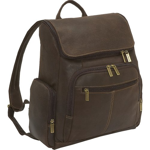 Distressed Leather Laptop Backpack by LeDonne
