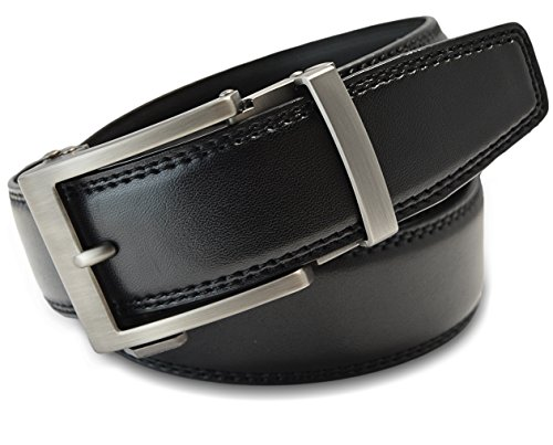 Classic Men's Leather Ratchet Click Belt - Matte Silver Buckle w/ Double Stitched Black Leather Ratchet Belt - Trim to Fit (Up to 35'' Waist)