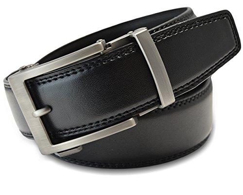 Classic Men's Leather Ratchet Click Belt - Matte Silver Buckle w/ Double Stitched Black Leather Ratchet Belt - Trim to Fit (Up to 45'' Waist)