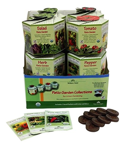 Walters Seed Company W1200-R Organic Patio Gardens Display/12 Ct Seed Starting Kit by Walters Seed Company