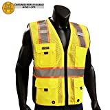 KwikSafety BIG KAHUNA | Class 2 Deluxe Safety Vest | 360° High Visibility Reflectivity ANSI Compliant Work Wear | Hi Vis 8 Pocket Breathable Mesh Men & Women | Traditional Cut Yellow L/XL