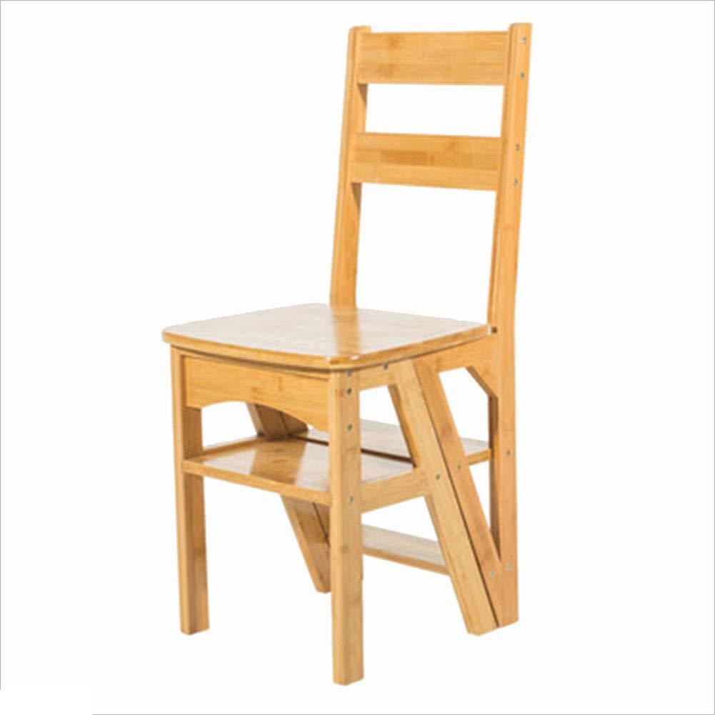 CAIJUN ステップスツール 世帯 多機能 折り畳み式椅子 バンブー リフティングスツール シンプル インドア、 4ステップラダー、4色 (色 : イエロー いえろ゜, サイズ さいず : 40x39x89cm) B07JD9T3GL イエロー いえろ゜ 40x39x89cm