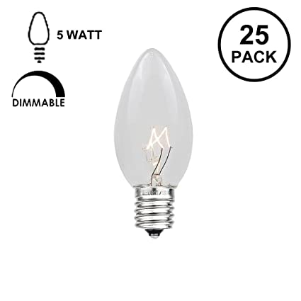 Amazon novelty lights 25 pack c7 outdoor string light christmas novelty lights 25 pack c7 outdoor string light christmas replacement bulbs clear c7 mozeypictures Choice Image